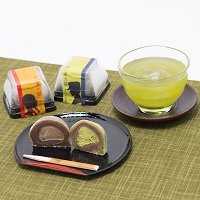 富士山プレミアム熟成茶とお茶屋さんの大福セット〔熟成茶・微粉末茶緑茶・大福2種ほか全6種〕