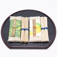 阿波晩茶そば・上勝ゆずそばセット〔阿波晩茶そば(200g)×3袋・上勝ゆずそば(200g)×2袋〕