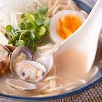 讃岐の伝統製法でもちもち麺 食物繊維たっぷり もち麦 海鮮あさりラーメン 6食〔麺100g×6・スープ×6〕
