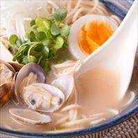 讃岐の伝統製法でもちもち麺 食物繊維たっぷり もち麦ラーメン 6食〔麺100g×6・あさり風味スープ×6〕