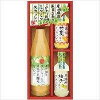 産地くだもの厳選 こだわり飲料とフルーツ炭酸セット RJS-22 〔りんごジュース、スカッシュ(柚子・甘夏)×各1〕 美食ファクトリー