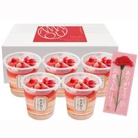 母の日 博多あまおう たっぷり苺のアイス 〔苺のアイス74ml×5 カーネーション付(造花)〕 アイスクリーム