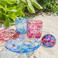 波の花 5点セット 〔グラス×2、小皿×2、一輪挿し×1〕 ガラス工芸品 沖縄県 うるま市 琉球ガラス 匠工房