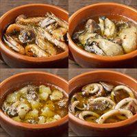 アヒージョ 4種 お試しセット 外袋無し 〔小えび・牡蠣・いか各140g、帆立130g〕 惣菜 Manma