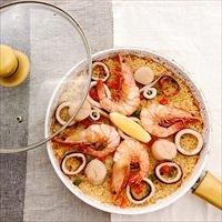 有頭えびのパエリアセット 〔具(有頭えび・いか・帆立貝柱、調味料)、パエリアスープ500g〕 パエリア 惣菜 海鮮 Manma