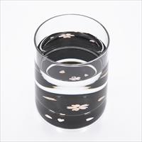 グラス 桜 貝入 黒 〔215ml(直径6.8×高さ8.3cm)〕 食器 富山 螺鈿ガラス