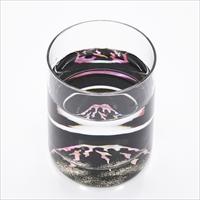 グラス 赤富士 貝入 黒 〔215ml(直径6.8×高さ8.3cm)〕 食器 富山 螺鈿ガラス