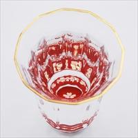 金杯 万華鏡 桜 貝入 朱 〔70ml(直径5.8mm×高さ8.1cm)〕 食器 富山 螺鈿ガラス