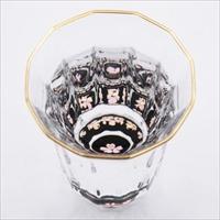 金杯 万華鏡 桜 貝入 黒 〔70ml(直径5.8mm×高さ8.1cm)〕 食器 富山 螺鈿ガラス