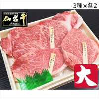 最高級A5ランク 仙台牛 ステーキ 3種 食べ比べセット 大 3〜4人前 〔サーロイン180g・ヒレ100g・ランプ120g×各2〕 牛肉