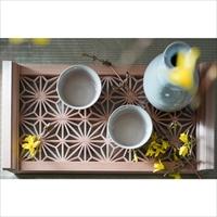 縁樹 雅 角麻8総柄〔278×142×32mm〕 縁起組子 組子細工 木工芸品 トレー インテリア雑貨