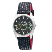 和心 宇陀印傳 小桜模様バンド 日本製腕時計 花火 〔全長(腕回り)約23.5cm・ベルト幅2cm〕 腕時計