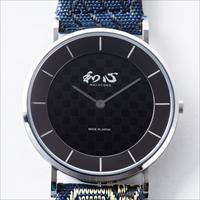 和心 畳縁バンド 薄型 日本製腕時計 市松模様 黒 〔全長約25cm・ベルト幅2cm〕 メンズ腕時計